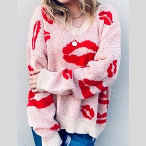 and the why Sweaters - Red Kisses Lips V Neck Sweater~New Arrival